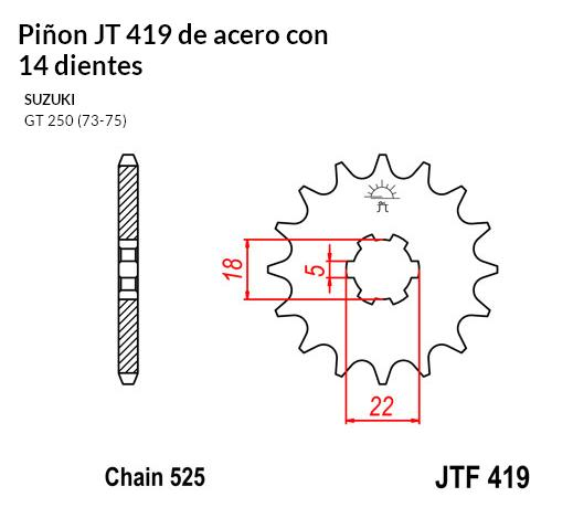PIñON JT 419 de acero con 14 dientes