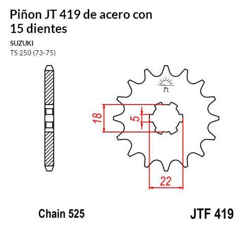 PIñON JT 419 de acero con 15 dientes