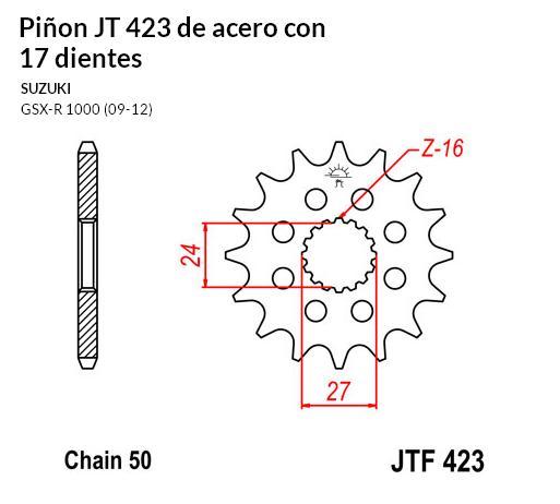 PIñON JT 423 de acero con 17 dientes