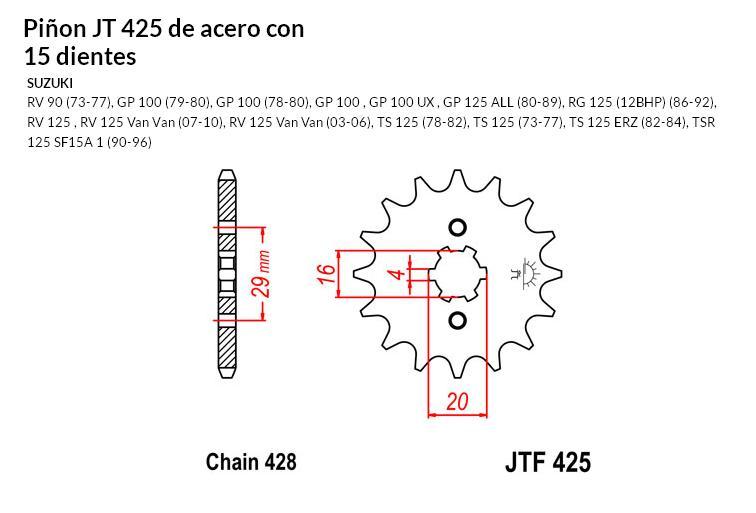 PIñON JT 425 de acero con 15 dientes