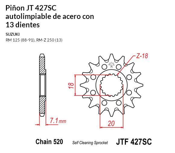 PIñON JT 427SC autolimpiable de acero con 13 dientes