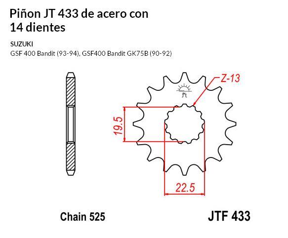 PIñON JT 433 de acero con 14 dientes