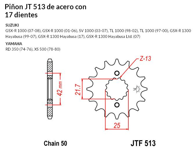 PIñON JT 513 SUN 51117 17 dientes