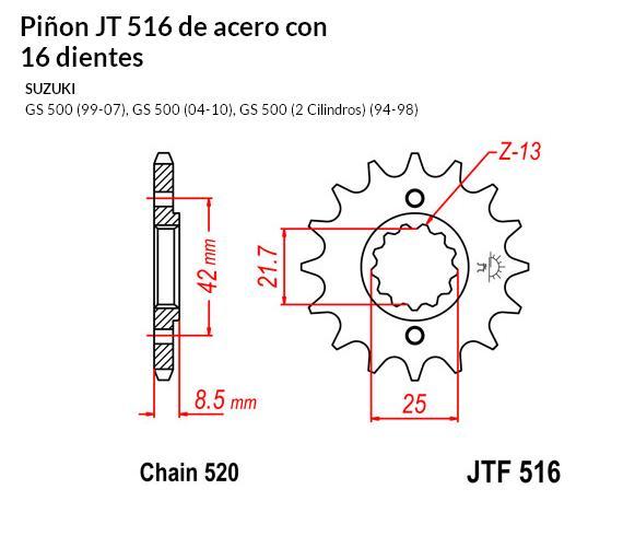 PIñON JT 516 SUN 33316 16 dientes