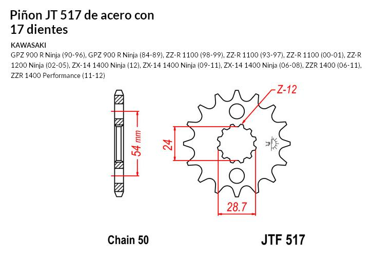 PIñON JT 517 de acero con 17 dientes