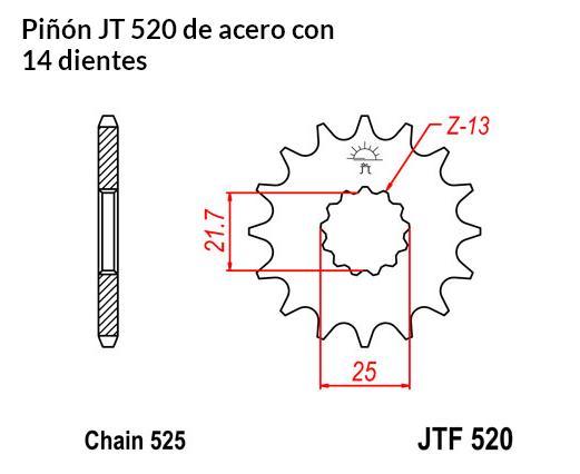 PIñON JT 520 de acero con 14 dientes