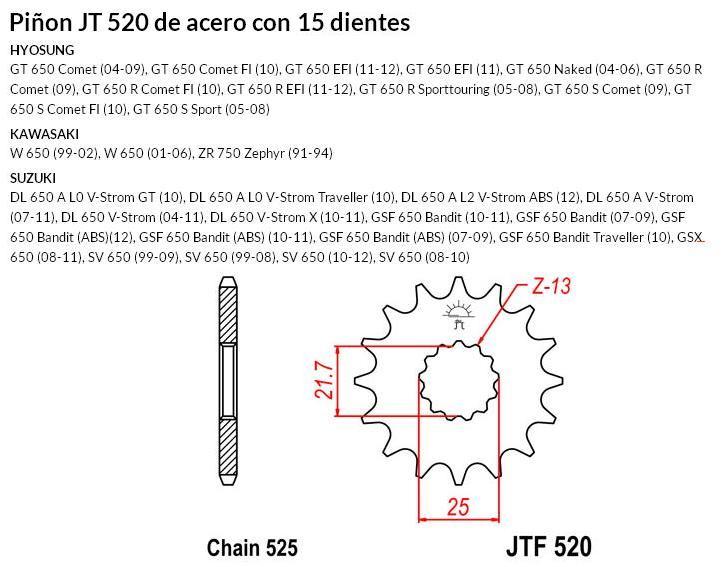 PIñON JT 520 SUN 40415 15 dientes