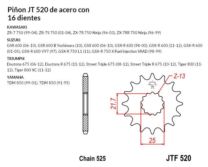 PIñON JT 520 SUN 40416 16 dientes