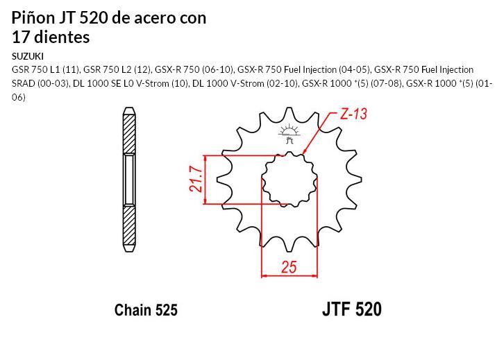 PIñON JT 520 de acero con 17 dientes