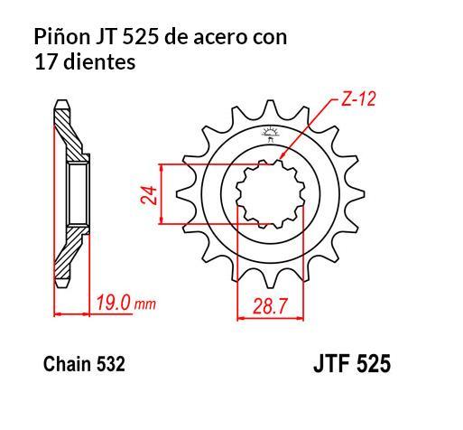 PIñON JT 525 de acero con 17 dientes