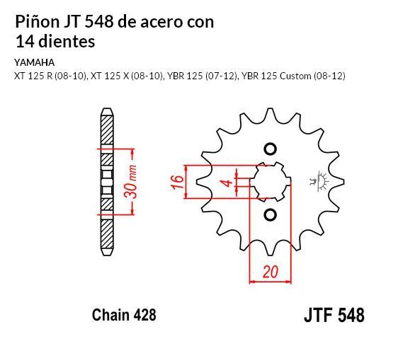 PIñON JT 548 de acero con 14 dientes