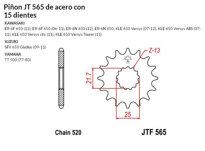 PIñON JT 565 SUN 32515 15 dientes