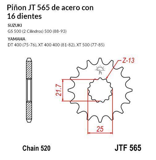 PIñON JT 565 SUN 32516 16 dientes