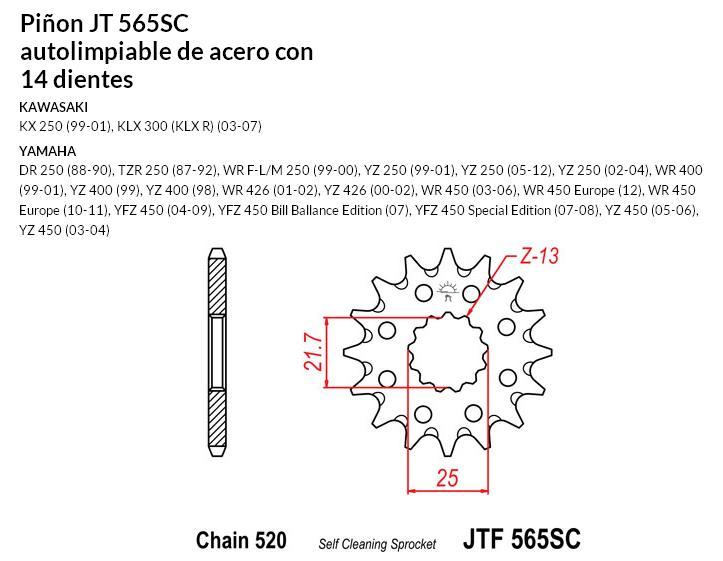 PIñON JT 565SC autolimpiable de acero con 14 dientes