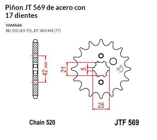 PIñON JT 569 de acero con 17 dientes