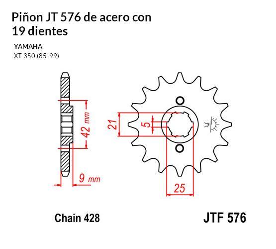 PIñON JT 576 de acero con 19 dientes
