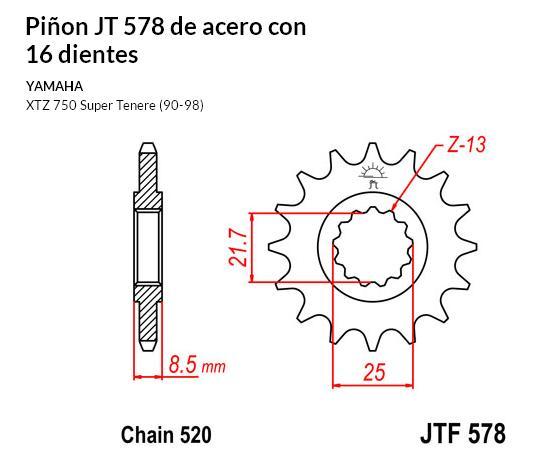 PIñON JT 578 de acero con 16 dientes
