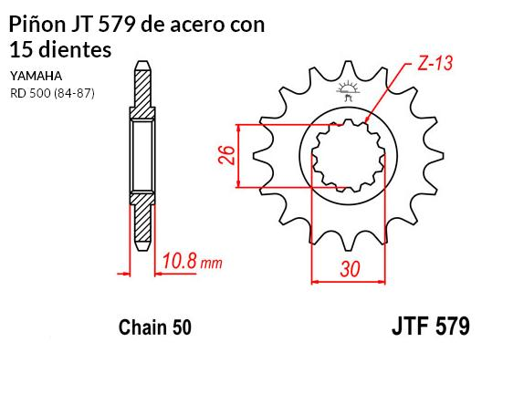 PIñON JT 579 de acero con 15 dientes
