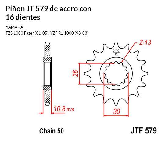 PIñON JT 579 de acero con 16 dientes