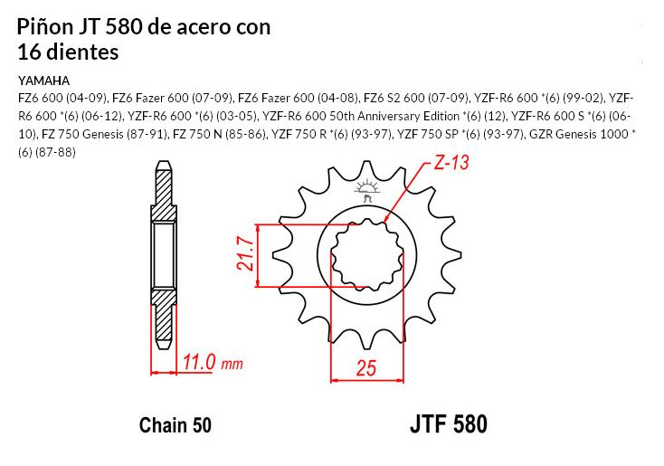 PIñON JT 580 SUN 51916 16 dientes