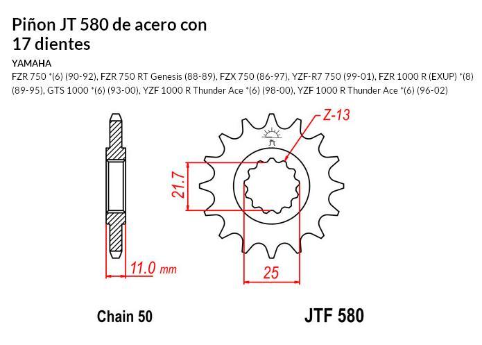 PIñON JT 580 de acero con 17 dientes