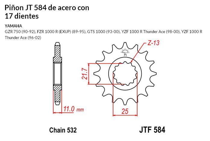 PIñON JT 584 de acero con 17 dientes