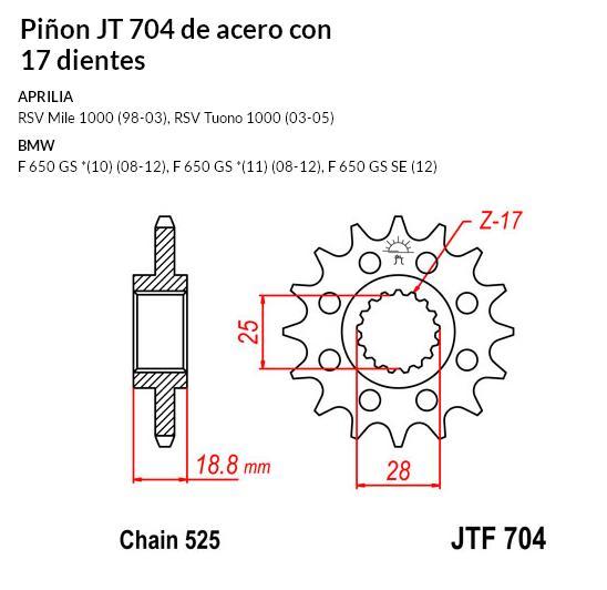 PIñON JT 704 de acero con 17 dientes