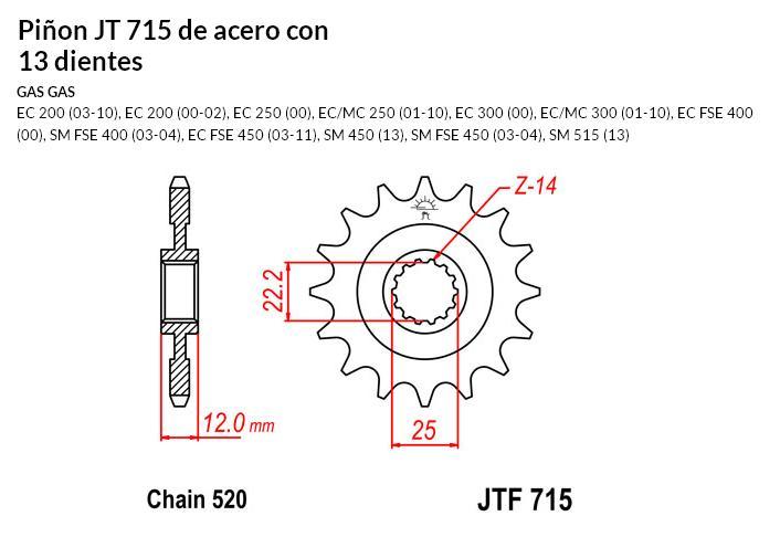 PIñON JT 715 de acero con 13 dientes
