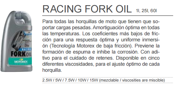 ACEITE MOTOREX RACING FORK OIL 7,5W 1L.