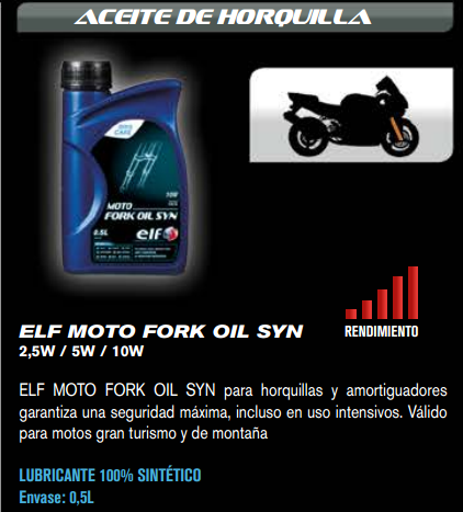 ACEITE ELF FORK OIL SYN 2,5W 500 ML.