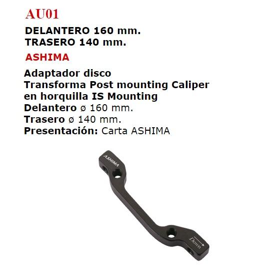 ADAPTADOR DISCO DELANTERO 160 TRASERO 140 AU01
