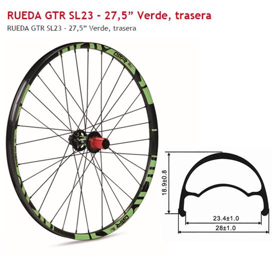 RUEDA TRASERA 27,5 GTR SL23 VERDE