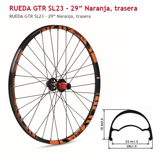 RUEDA BICICLETA TRASERA 29 GTR SL23 NARANJA