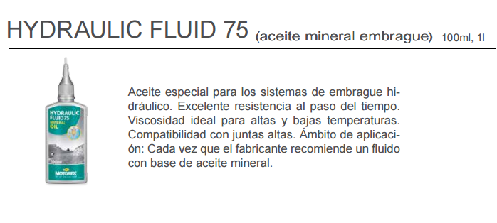 ACEITE MOTOREX HIDRAULIC FLUID 75 100 ML.