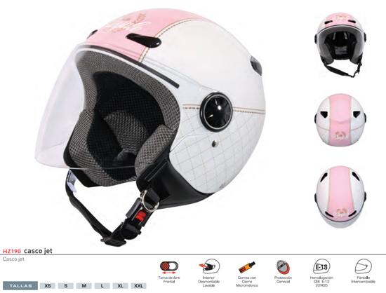 CASCO ZEUS JET HZ190 PANTALLA BLANCO ROSA CHICLE DECORADO M