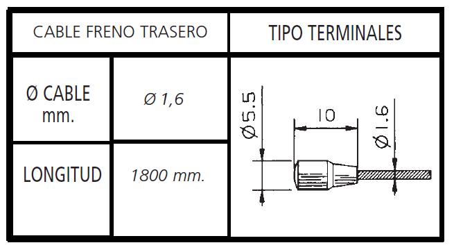 CABLE FRENO BICICLETA TRASERO PERA