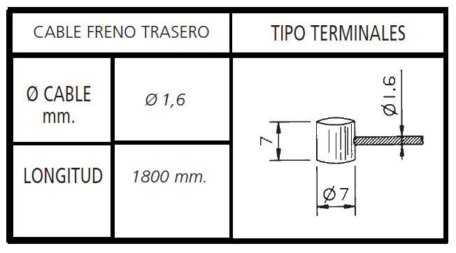 CABLE FRENO BICICLETA TRASERO MARTILLO