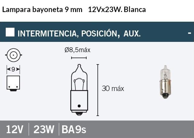 LAMPARA MOTO 12V 23W BA9S BAYONETA