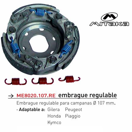EMBRAGUE MITAKA REGULABLE 107 MM.