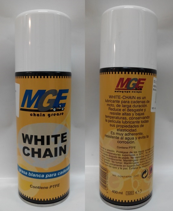 ACEITE MGE GRASA CADENAS BLANCA SPRAY 400 ML.
