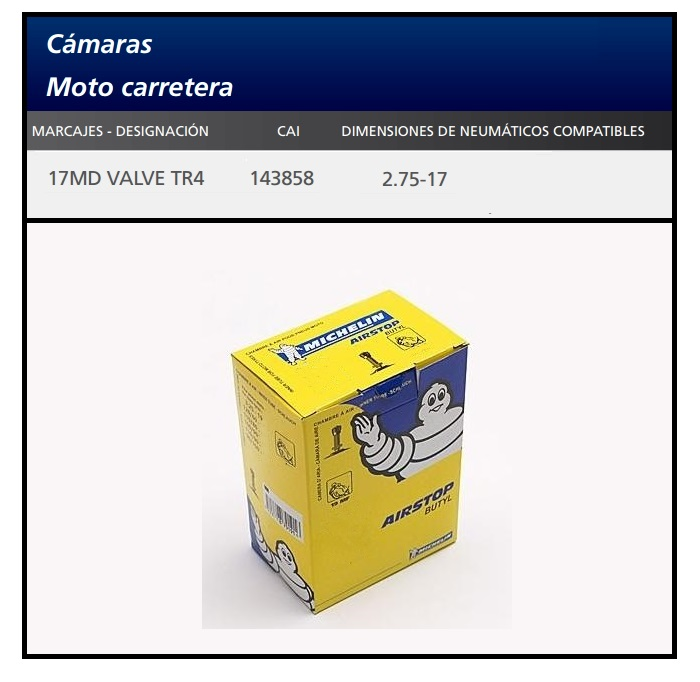 CAMARA MICHELIN 17MD VALVE TR4