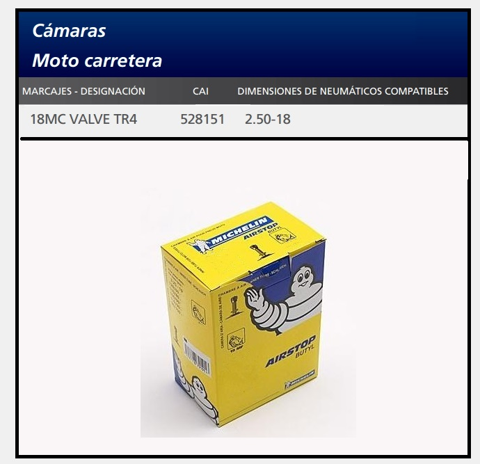 CAMARA MOTO MICHELIN 18MC VALVE TR4