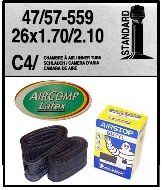 CAMARA BICICLETA MICHELIN 26-170-210 LATEX AIRCOMP C4  42mm