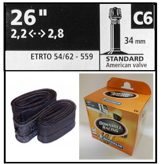 CAMARA BICICLETA MICHELIN 26-220-280 C6 DOWNHILL RACING STANDARD 35mm