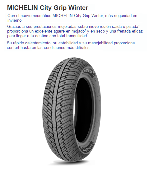CUBIERTA MICHELIN CITY GRIP WINTER 130/70-12 62P R TL REF