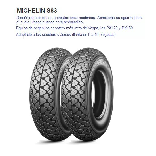 CUBIERTA MICHELIN S83 350-10 59J F/R TL/TT REF
