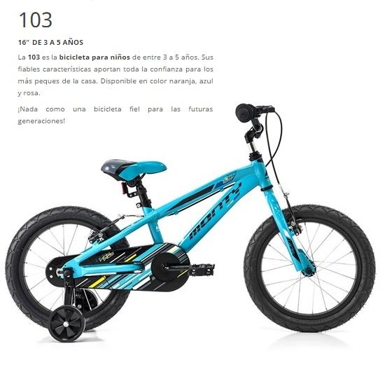 BICICLETA MONTY 16 BMX 103 AL AZUL Rueda 16 1V