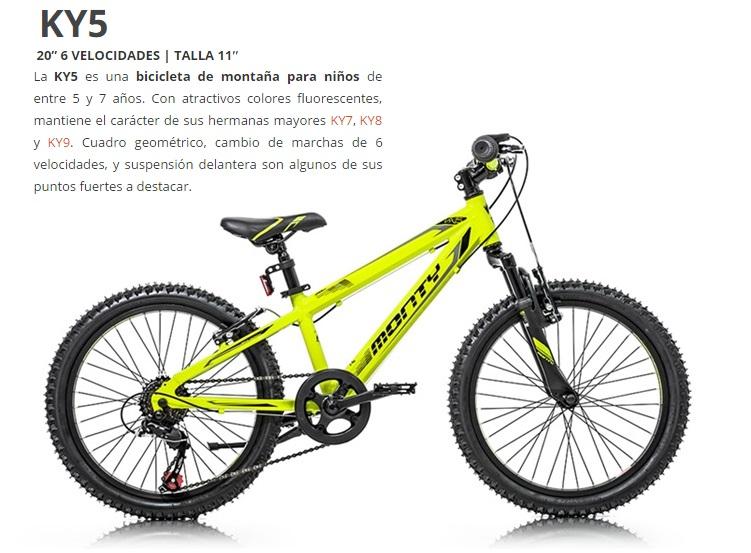 BICICLETA MONTY MTB KY5 AL AMARILLO Rueda 20  6 vel