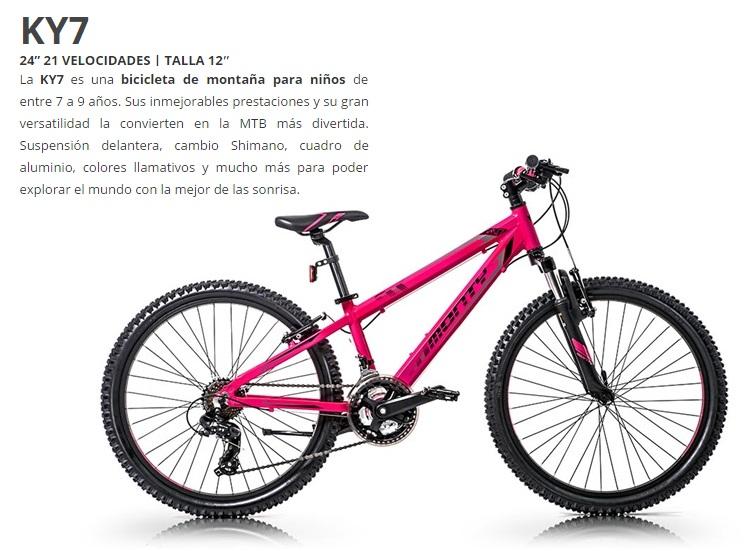 BICICLETA MONTY MTB KY7 AL ROSA Rueda 24 21V