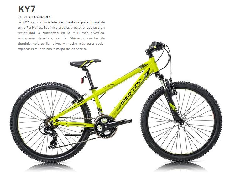 BICICLETA MONTY MTB KY7 AL AMARILLA Rueda 24 21V